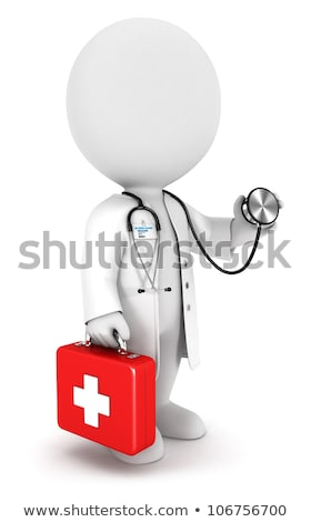 3d small people   stethoscope and medical kit stock photo © anatolym