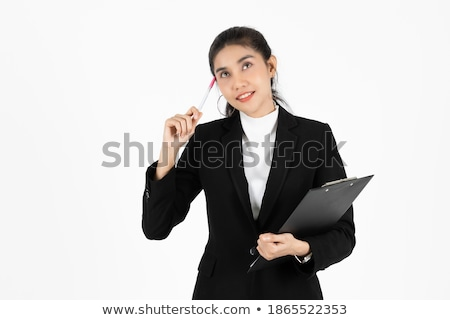 Young asian business woman pointing up and having good idea Stock photo © HASLOO