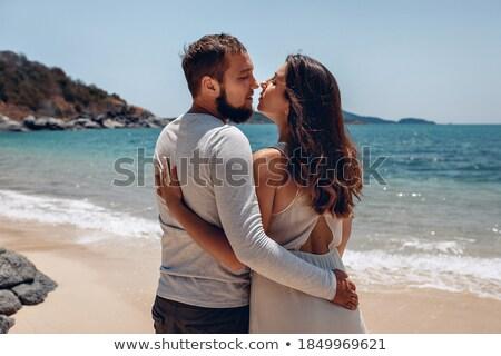 fabuloso · romântico · pose · sorridente · casal - foto stock © konradbak