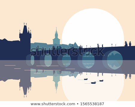 Monochromatic view of an old streets of Prague.  Stock photo © frank11