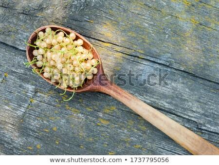 bogyók · fehér · kanál · fából · készült · étel · stúdió - stock fotó © lunamarina