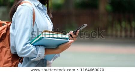 Foto stock: Estudante · saco · telefone · livros · escolas · isolado