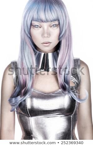 smink · hajviselet · nő · futurisztikus · ezüst · idegen - stock fotó © lunamarina