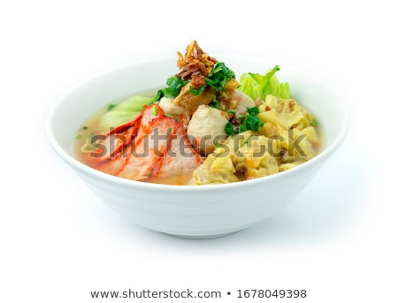 soup with sliced pork and dumplings stock photo © gloszilla