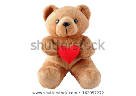 speelgoed · beer · Rood · hart · geïsoleerd · witte - stockfoto © taden