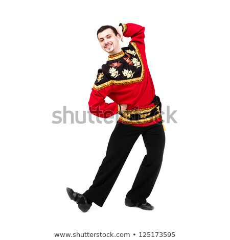 attractive man wearing a folk russian costume dancing stock photo © stepstock