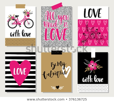Six vintage cards. Wedding or Valentine`s Day. Vector illustrati Stock photo © leonido
