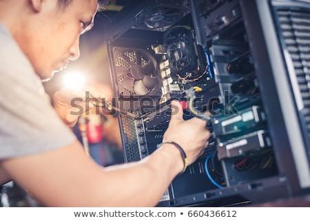 Foto stock: Reparação · de · computadores · grupo · construção · trabalhadores · placa-mãe