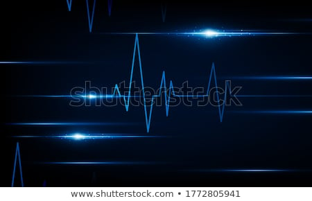 Icon of Heart with Cardiogram Line on Blue Arrow. Stock photo © tashatuvango