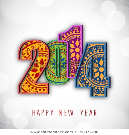 Beautiful text happy new year 2014 brochure template design Stock photo © bharat