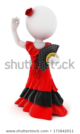 flamenco · jelmez · lány · spanyol · ruha · fehér - stock fotó © 3dmask