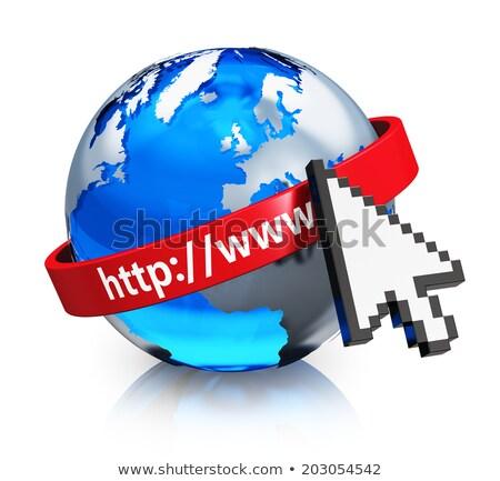 Glas wereldbol aarde kaart 3D Blauw Stockfoto © mizar_21984