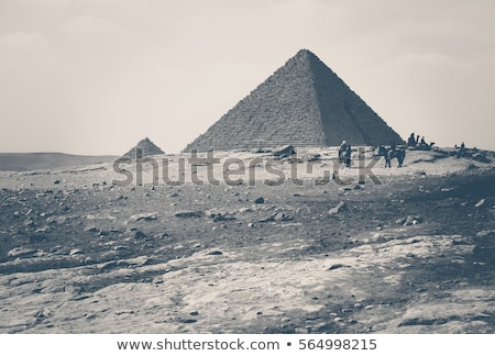 egypt pyramids in giza cairo   vintage retro style stock photo © mikko