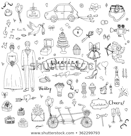 bruid · bruidegom · Rood · hart · vector - stockfoto © beaubelle
