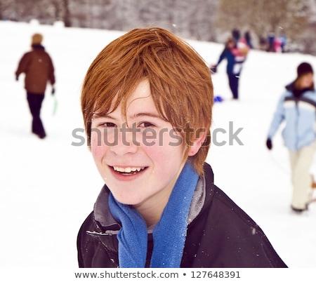 играет · снежный · ком · зима · детство - Сток-фото © meinzahn
