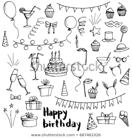 set of hand drawn doodle cakes desserts stock photo © elenapro