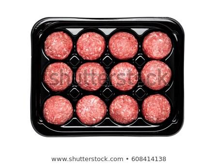 házi · húsgombócok · házi · készítésű · tálca · kész · szakács - stock fotó © hofmeester