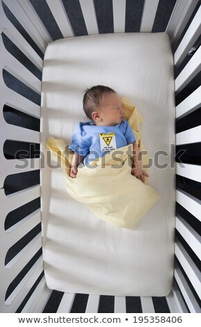 High angle view of a newborn baby sleeping in a crib stock photo © bmonteny