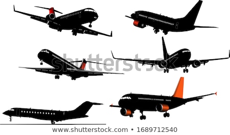 vliegtuig · af · landingsbaan · illustratie · business - stockfoto © leonido