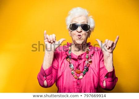 Stockfoto: Gelukkig · oude · vrouw · portret · glimlachend · geïsoleerd