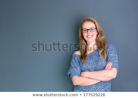 ストックフォト: クローズアップ · 肖像 · 小さな · ブロンド · 少女 · グレー