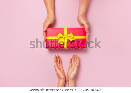 Kéz tart ajándék doboz ajándék lány divat Stock fotó © Vg