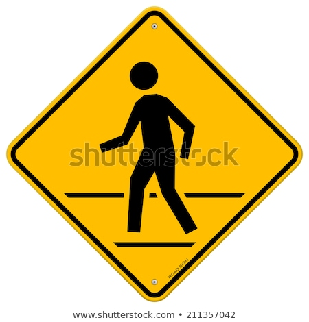 voetganger · teken · blauwe · hemel · lopen · witte · verkeersbord - stockfoto © meinzahn