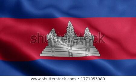 Mensen vlag Cambodja geïsoleerd witte menigte Stockfoto © MikhailMishchenko