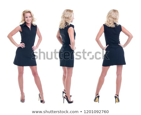 attractive businesswoman standing with hands on hips stock photo © andreypopov
