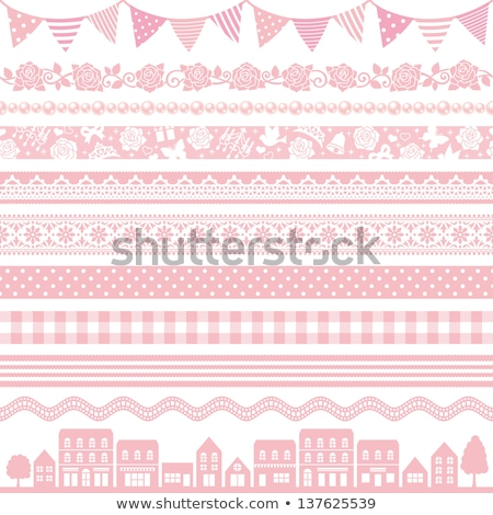 Photo stock: Pink Roses Ribbons And Lace Border