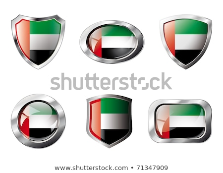 Square metal button with flag of united arab emirates Stock photo © MikhailMishchenko