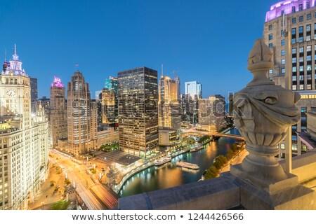 Чикаго ночь центра дороги Skyline Сток-фото © AchimHB