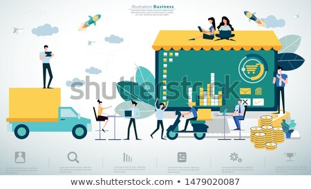 Foto stock: 3D · pequeno · pessoas · dinheiro · caminhão · pessoa