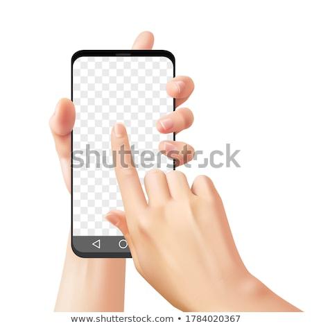 3d · femme · touch · smartphone · blanche · côté · fond - photo stock © nithin_abraham