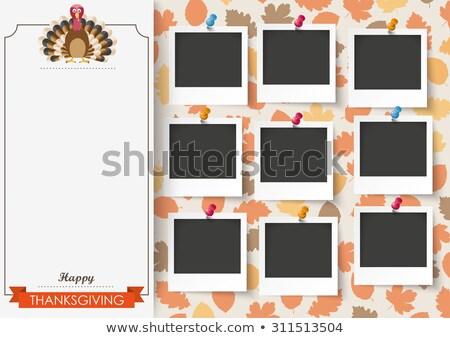 Happy Thanksgiving Emblem Foliage Pic Stock photo © limbi007