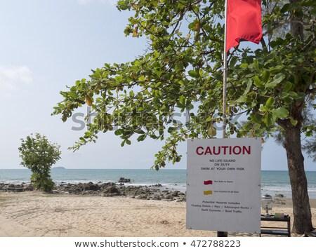 geen · teken · gevaar · vlag · zwemmen · strand - stockfoto © morrbyte