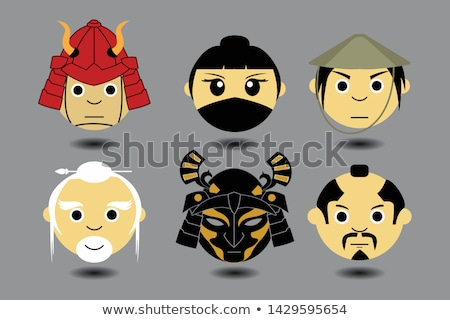 vector flat japan warrior face illustration icon