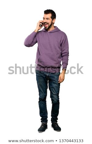homme · barbe · téléphone · portable · sourire · cheveux · beauté - photo stock © Paha_L