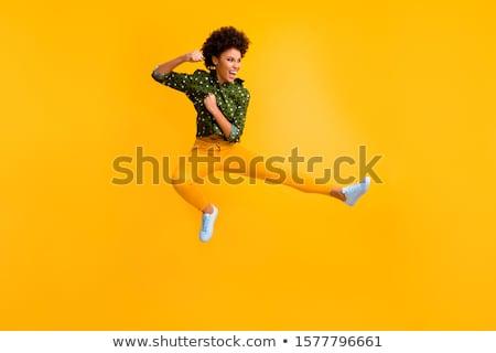 Foto stock: Amarelo · feminino · ninja · espada · isolado · preto