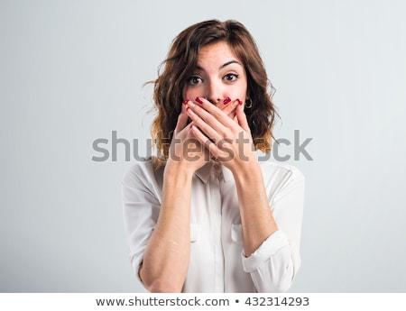 Stockfoto: Geschokt · jonge · vrouw · portret · vrouw · geïsoleerd · glimlach