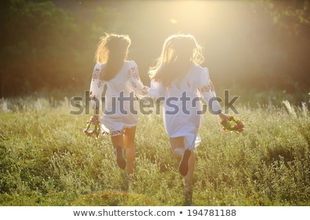 девочек · подсолнечника · белый · женщину · детей · волос - Сток-фото © svetography