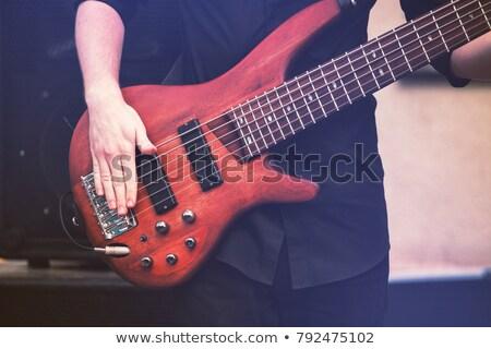 Részlet kéz játszik basszus gitár férfi Stock fotó © meinzahn