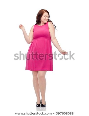 幸せ · 小さな · プラスサイズ · 女性 · ダンス · ピンク - ストックフォト © dolgachov