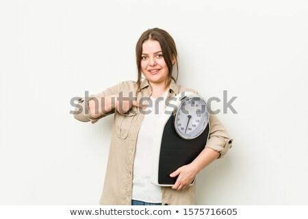 счастливым молодые Плюс размер женщину Весы Сток-фото © dolgachov