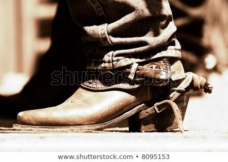 öreg · cowboy · csizma · magas · kontraszt · kettő · pár - stock fotó © lincolnrogers