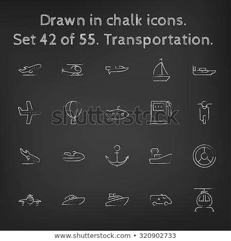 Plane taking off. Drawn in chalk icon. Stock photo © RAStudio