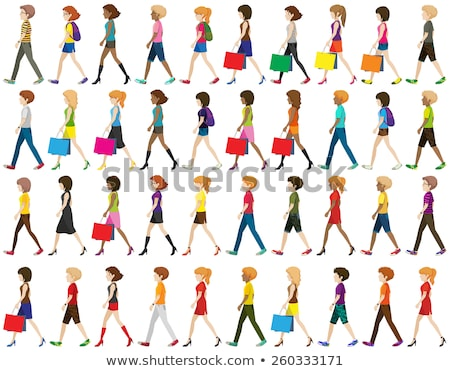 moda · ninas · caminando · cuatro · hermosa - foto stock © bluering