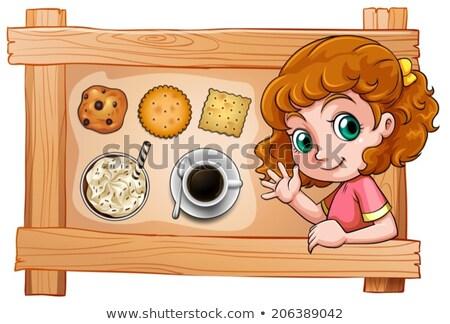 Cadre jeune fille boissons biscuits illustration blanche Photo stock © bluering