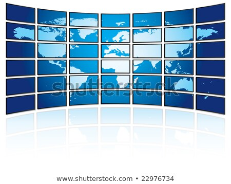 Video wall of flat tv screens with world map Stock photo © daboost