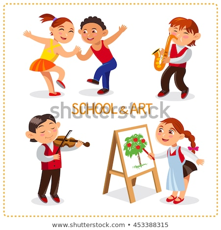 School time. Happy boys and girls. Cute schoolchild are dancing, painting, playing at a saxophone an Stock photo © natalya_zimina